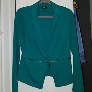 Turquoise blazer with zipper detail